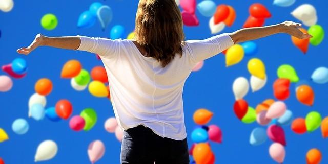 female celebrating